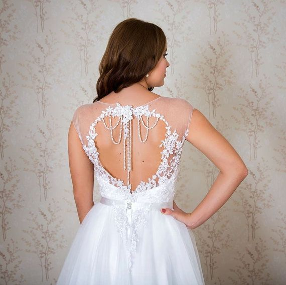 beautiful A-Line wedding gown with fabulous cut out back and back necklace detail. Unique wedding dress/ Lace and tulle wedding dress/ by SilkBrides