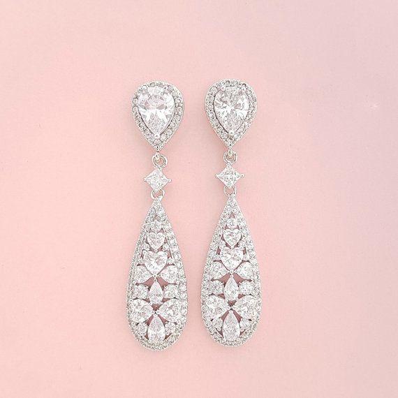 Bruids oorbellen Crystal Drop bruiloft sieraden door poetryjewelry