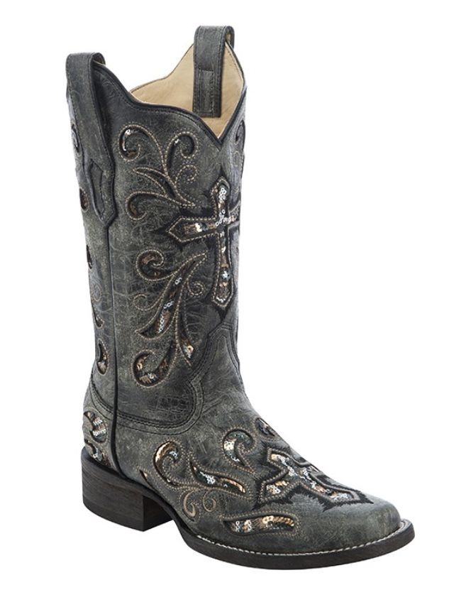 Corral Women's Black Multicolor Sequence Cross Square Toe Boots - HeadWest Outfitters