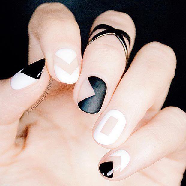 Black and White Matte Nail Design http://www.jexshop.com/