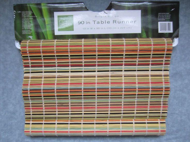 "BRIGHT STRIPE BAMBOO TABLE RUNNER -90"" x 13""   Home & Garden, Kitchen, Dining & Bar, Linens & Textiles   eBay!"