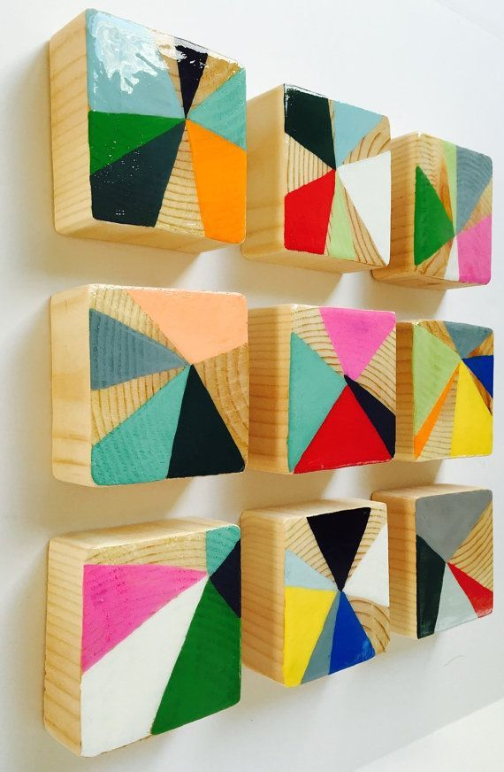 Original Painted Wood Block Wall Art- Abstract Painting Modern Wood Wall… More
