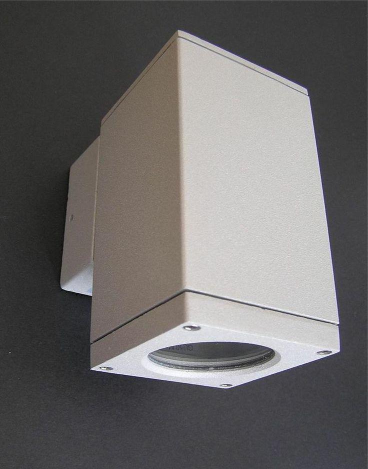 SQUARE EXTERIOR ALUMINIUM SILVER/GREY POWDER COATED WALL PILLAR SPOT LIGHT $19.95