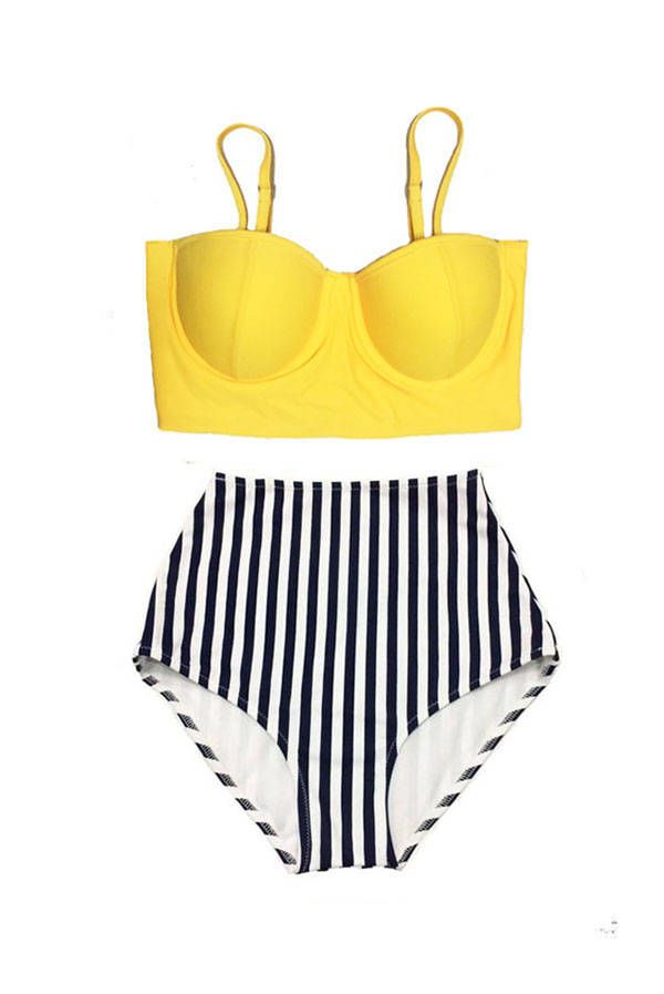 Yellow Midkini Top and Stripe High Waisted Waist Cut Rise Bottom Bikini Swimsuit Bathing suit Swimdress Swim suit suits Swimwear S M L XL by venderstore on Etsy