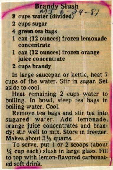 Recipe for brandy slush, Milwaukee Journal, 1981 via the Recollection WI Historical website!