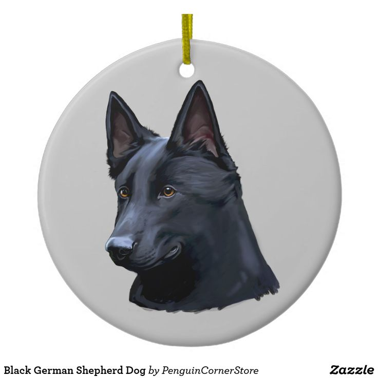 Black German Shepherd Dog Ceramic Ornament