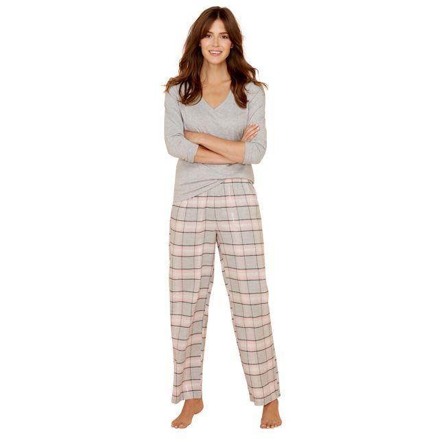 Petite grey check print cotton blend long sleeve pyjama set
