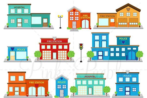 Fire Station Police Clipart Vector In 2020 Fire Station Clip Art Adobe Illustrator Vector