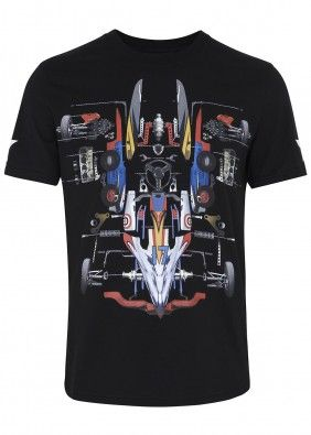Black racing car cotton T-shirt