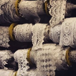 Off on a fabric buying trip ... Rolls upon rolls of cotton lace trims to choose from... Exciting
