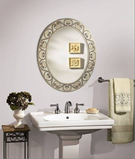 Earthtone mosaic oval bathroom mirror bathroom mirrors for Oval swivel bathroom mirror
