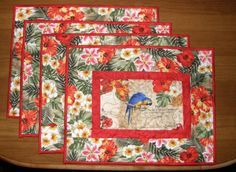 Tropical Birds Quilted Place Mats Parrot Place Mats by HollysHutch