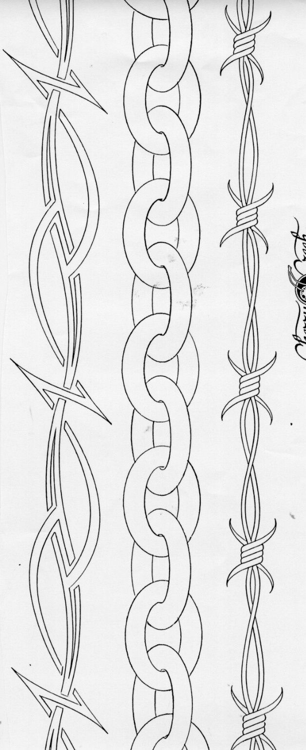 Barbed Wire Chain Armband Tattoo Design