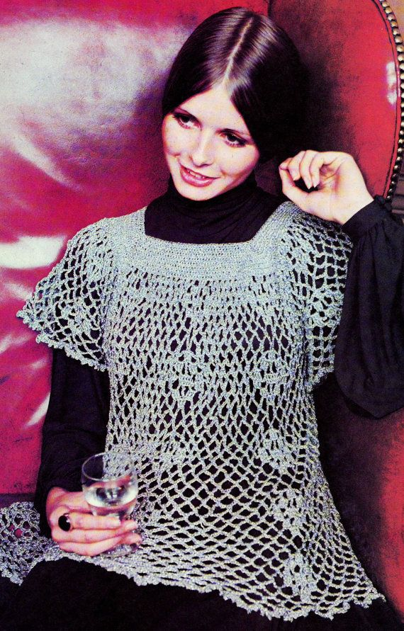 INSTANT DOWNLOAD PDF Vintage Crochet Pattern Silver Lace Smock Top Tunic 1970s Retro