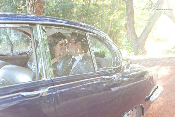 Wedding car photo in perfect light