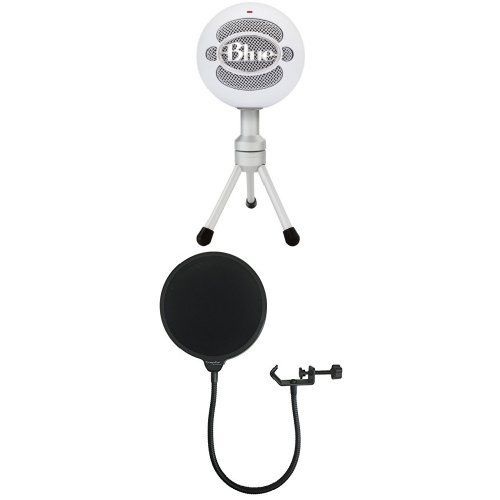 Blue Snowball iCE Condenser Microphone, Cardioid - White with Dragonpad USA Pop filter Studio Microphone Mic Wind Screen Pop Filter