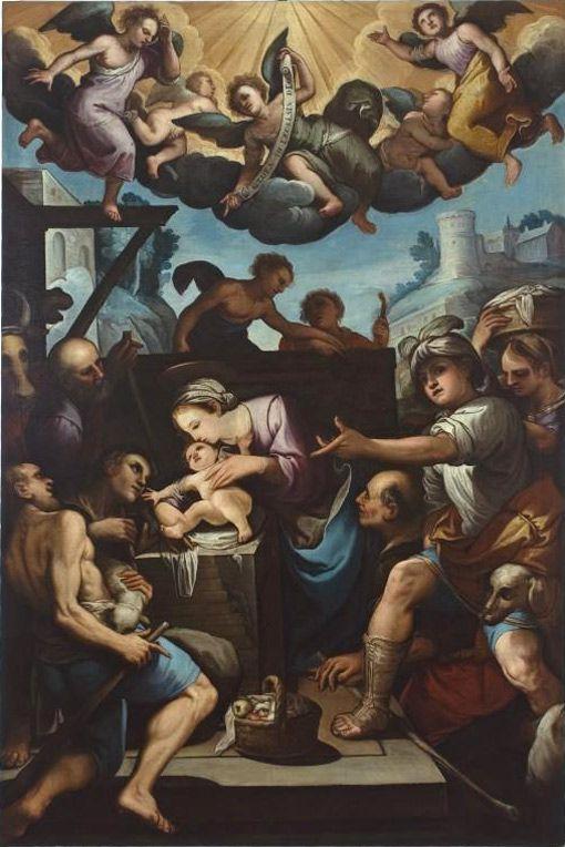 Ferraù Fenzoni  (Faenza 1562 – 1645) Adorazione dei pastori The Adoration of the Shepards 1620-1630 ca.