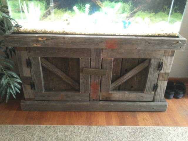 Final product diy fish tank stand made out of pallets to for Fish tank wood