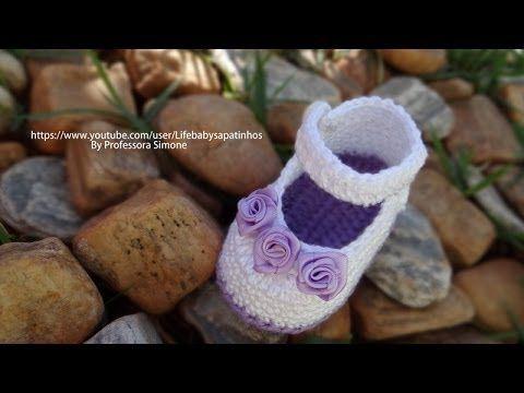 Passo a passo Sapatinho de Crochê para Bebê modelo Daminha - YouTube