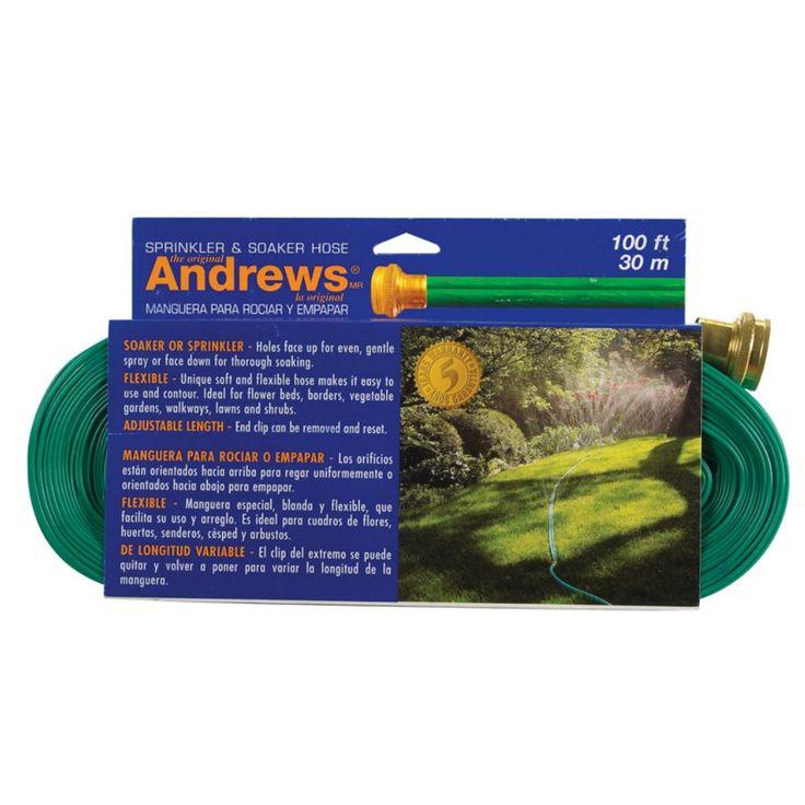 Andrews 10-12349 Sprinkler Hose, 100', Vinyl, Green