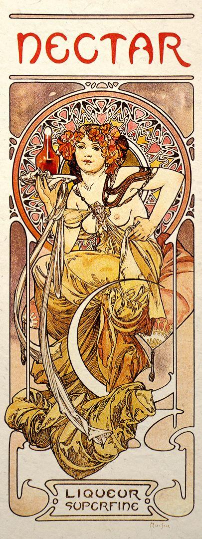 art nouveau mucha | Details about Art Nouveau Print Alphonse Mucha Wall Poster Nectar