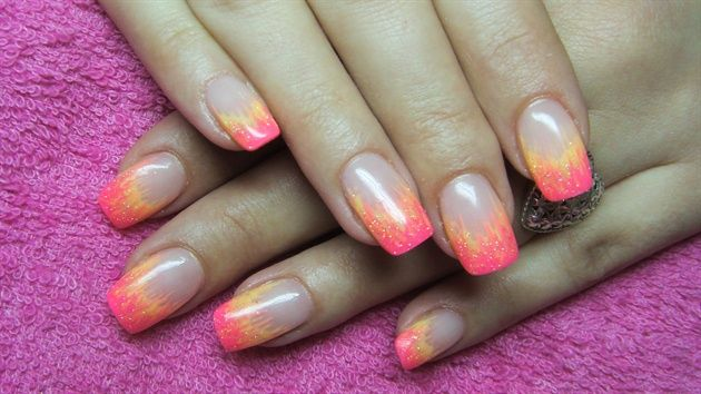 Nails with pink and yellow flames - Nail Art Gallery | Gel ...