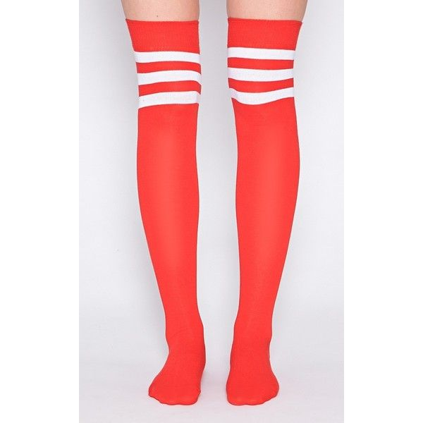 Tegan Red Knee High Referee Socks ($2.89) ❤ liked on Polyvore featuring intimates, hosiery, socks, red socks, red hosiery, red knee high socks, knee-high socks and knee high hosiery