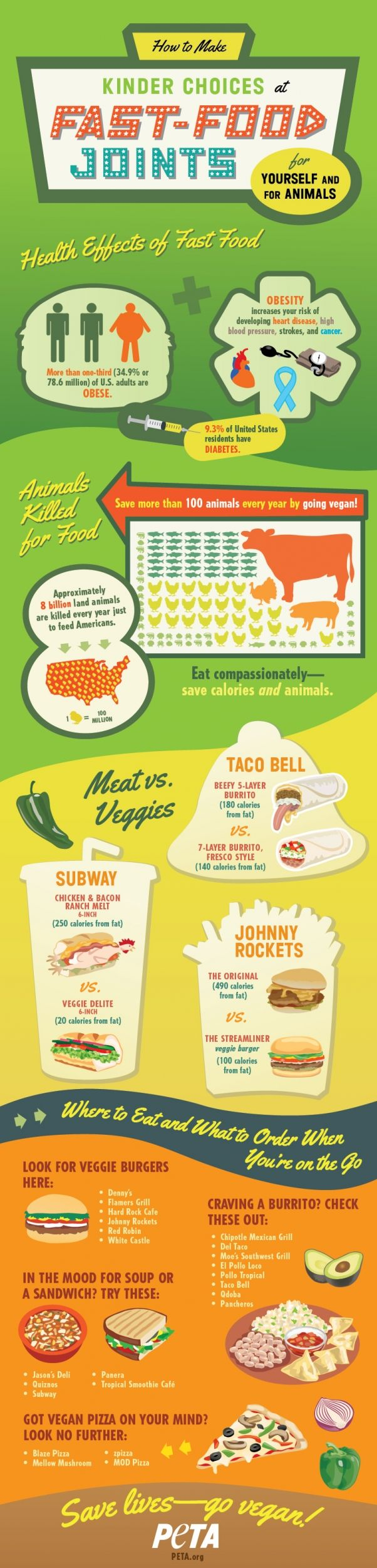 How to eat vegan at your favorite fast food joints! Learn why it's better for both the animals and your body to eat vegan, and then find out which restaurants offer vegan fast food options.