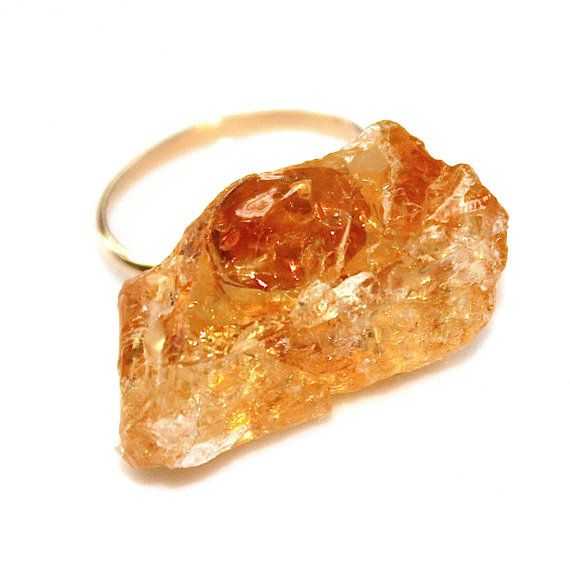 Raw Citrine Ring Rustic Citrine Ring Modern Ring Delicate Ring