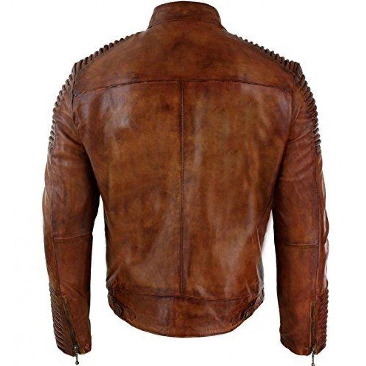 Vintage Cafe Racer Distressed Brown Biker Style Leather Jacket For Sale