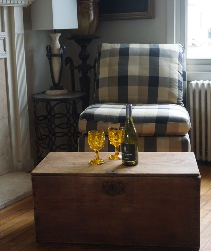 """Rustic barn board table/ trunk oak wood. $99 Rye, NH  Measures: 30 1/2"""" width <-> 15"""" height, 15""""length ^ Great piece for small coffee table with storage."""