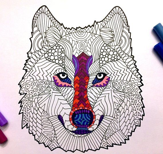 Wolf Head Pdf Zentangle Coloring Page Etsy Coloring Pages Zentangle Halloween Zentangle