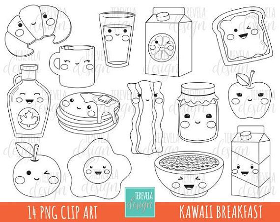50 Sale Kawaii Breakfast Digital Stamp Commercial Use Digi
