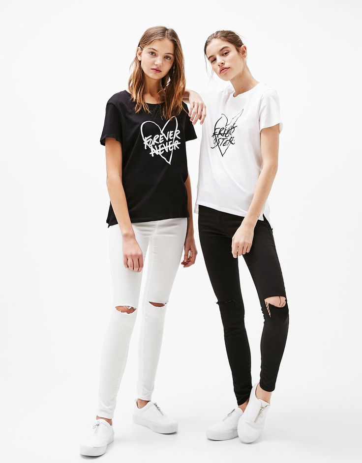 Forever/Sister printed T-shirt. Discover this and many more items in Bershka with new products every week