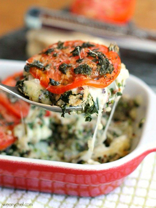 Caprese Quinoa Casserole - This turkey casserole is warm, cheesy, and healthy!