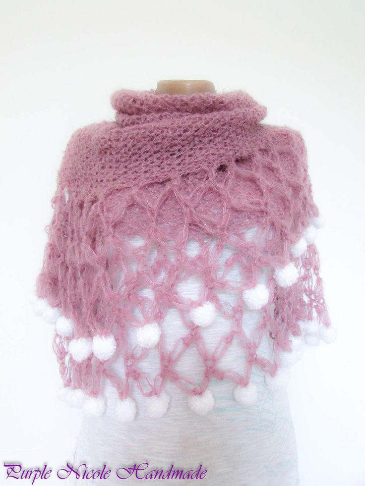 Fairy Wings - Handmade Beautiful Crocheted Shawl / Comforter / Neckwarmer by Purple Nicole (Nicole Cea Mov). Materials: dusted pink mohair with snow white puffy pompoms. The shawl is very light! Like the touch of a fairy!
