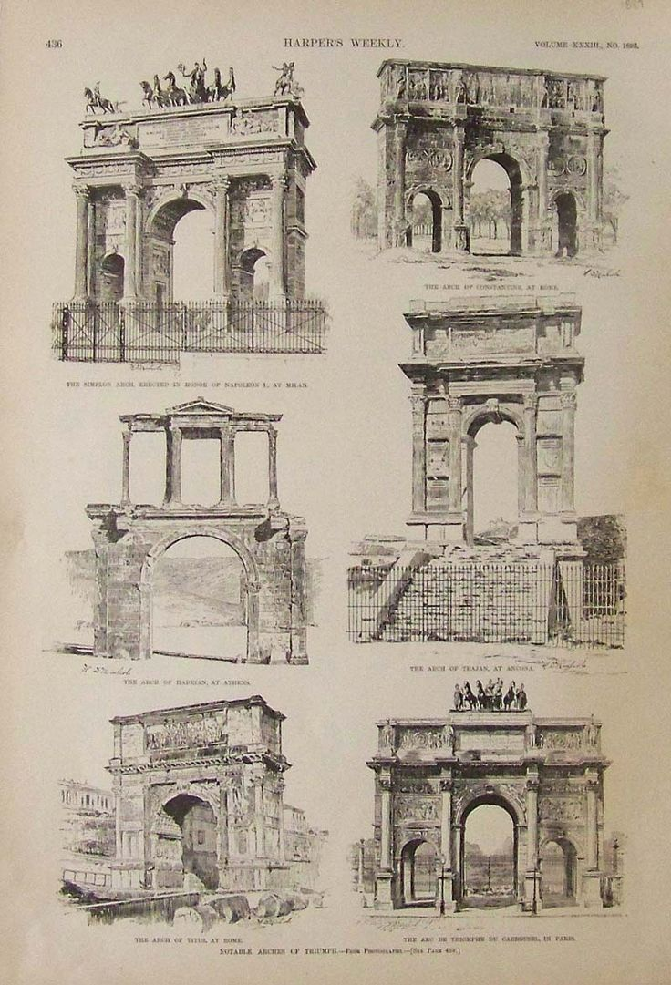 1889 Harper's Weekly wood engravings showing Notable Arches of Triumph, which include the Arch of Constantine, at Rome; the Arch of Hadrian, at Athens; and the Arc de Triomphe du Carrousel, in Paris, among other famous arches.