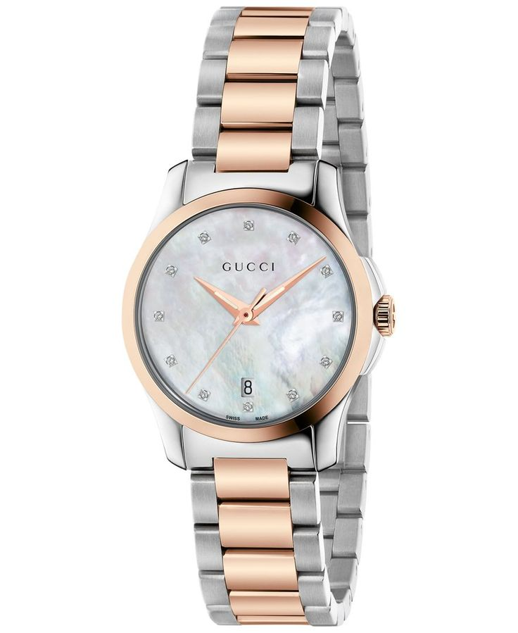 df330aa3043 Gucci Women s Swiss G-Timeless Diamond Accent Two-Tone Pvd Stainless Steel  Bracelet Watch