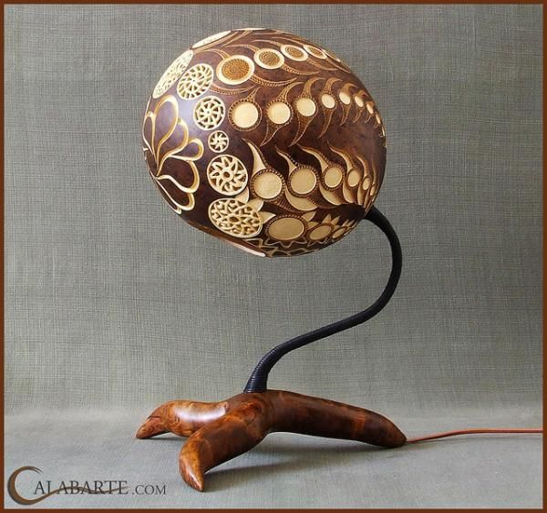 Fascinating And Cool Lamps By Calabarte. Interior LightingLighting Design Lamp DesignGourd LampGourd CraftsCraft PatternsTable LampsExoticDremel  Carving