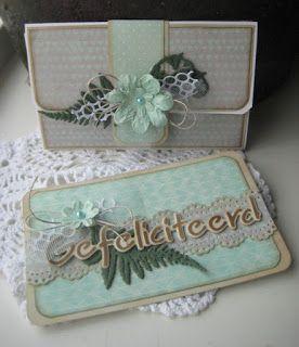Handmade gift envelope by DT member Boukje with Creatables Confetti (LR0342), Tiny's Ferns (LR0403) and Craftables Hartelijk Gefeliciteerd (CR1319) from Marianne Design
