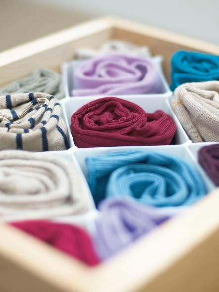 Keep the packaging next time you buy a product. You can use the cardboard to create drawer dividers — they work great for socks, ties, jewelry or scarves.