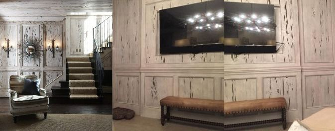 Distressed pecky cypress wormwood paneling.