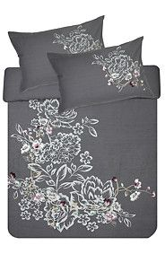 PRINT AND EMBROIDERED FLORAL DUVET COVER SET This would be awesome for the spare room double