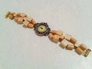 bransoletka  naturalne drewno z zegarkiem