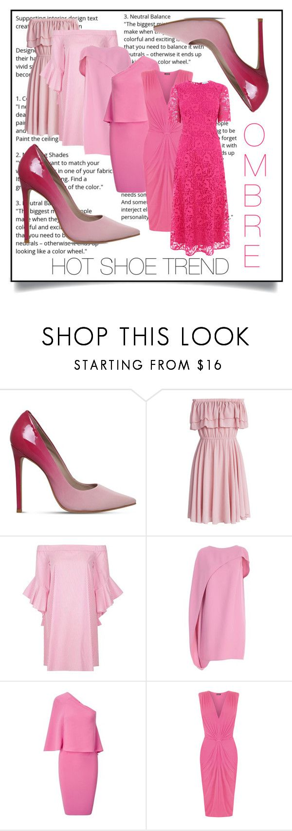 """Hot shoe trend: ombre"" by onelittleme ❤ liked on Polyvore featuring Carvela, Chicwish, River Island, Gianluca Capannolo, Roland Mouret, WearAll, Warehouse and hotshoetrend"
