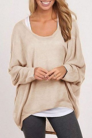 Stylish Scoop Neck Long Sleeve Pure Color Women's Sweater