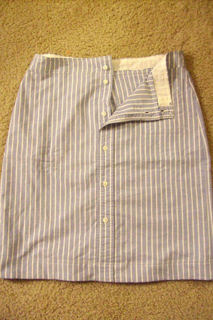 a great men's shirt makeover into a skirt. This is very doable with the right shirt. Tutorials, photos, suggestions at the link.  I would follow most of the instructions, but would leave the bottom open a few inches for walking ease, and interface the waist.