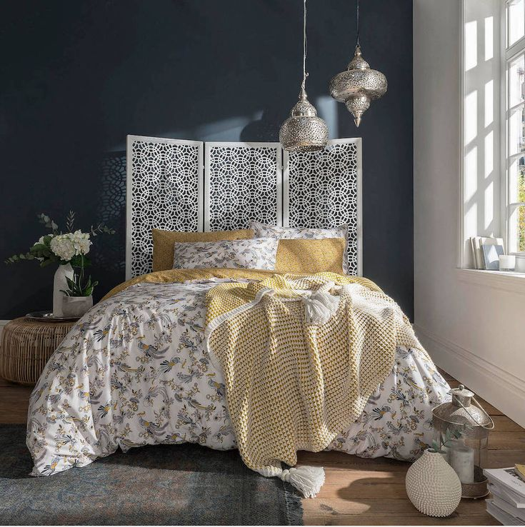 Ochre and Grey Colour Scheme Bedroom Ideas King size