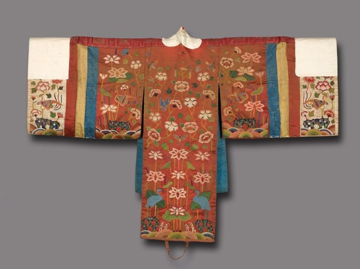 Bride's Robe    Korea, Joseon period (1392-1910)    Date: 1800s    Medium: silk embroidery on silk; edges wrapped with paper    gallery notes: Korean bridal robes were rented to the middle-class women in the village after the upper-class brides had used them. The paper around the neck and sleeves was changed for every wedding ceremony.