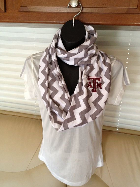 Texas A & M Aggies Chevron Infinity Scarf by LilCsBoutique on Etsy: FYI-I am only pinning this for the inspiration. I would TOTALLY change it to a LONGHORN!